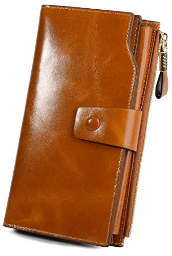 YALUXE Women's Wax Genuine Leather RFID Blocking Large Capacity Luxury Clutch Wallet Card Holder Organizer Ladies Purse Wallets for women brown