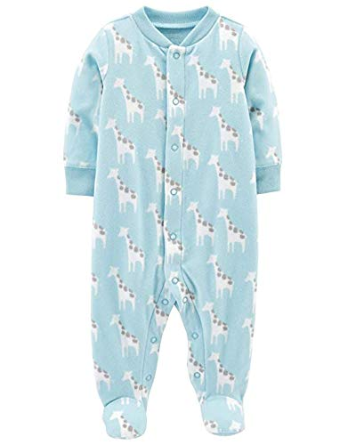 Carter's Little Boys' Football Micro-Fleece Sleeper (Newborn, Blue/Giraffe)