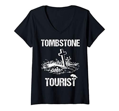 Womens Tombstone Tourist Taphophilia Graveyard I Cemeteries Visitor V-Neck T-Shirt]()