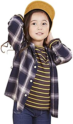 SenseFit Kids Little Girls Boys Toddler Clothes Dress Casual Long Sleeve Button Down Buffalo Plaid Flannel red Black Shirts SFK-47 Red 3~4Y-p