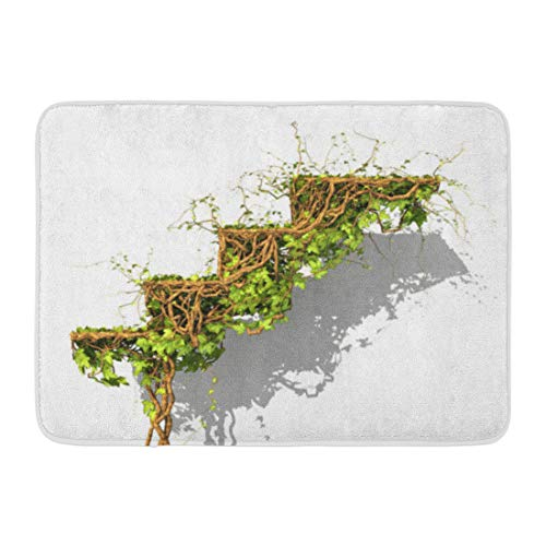 Dividends Forms (Aabagael Bath Mat Achievement Abundance Concept Green Plant of Ivy in Form Stairs Growth 3D Accounting Allowance Bathroom Decor Rug 16