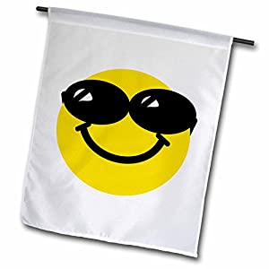 3dRose fl_113113_1 Cool Smiley Face with Sunglasses-Happy Confident Summery Cartoon-Humor Fun Funny Humorous Dude Garden Flag, 12 by 18-Inch