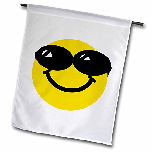 3dRose fl_113113_1 Cool Smiley Face with Sunglasses-Happy Confident Summery Cartoon-Humor Fun Funny Humorous Dude Garden Flag, 12 by - Smiley Glasses