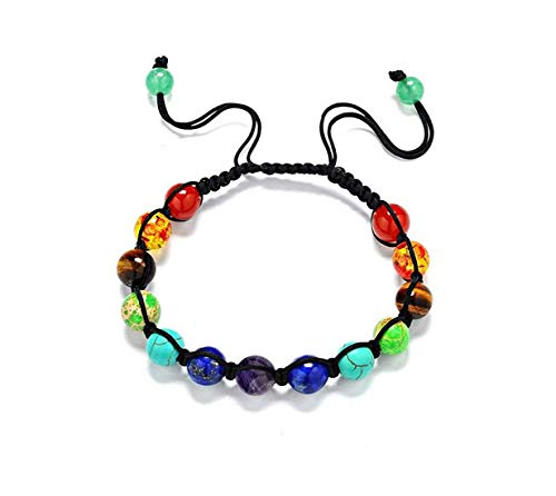 KUUCOL Womens Mens Beaded Bracelets Stone Lava Rock Healing Balance Round Braided (1PC, COLORFUL) (Knot Adjustable Closure)