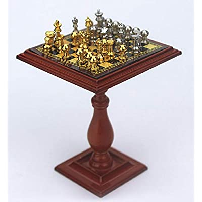 SXFSE Dollhouse Decoration Accessories, 1:12 Dollhouse Miniature Scene Magnetic Model Chess Table with Chess Pretend Play Toy (Red, 1.89 x 2.4 inch): Arts, Crafts & Sewing