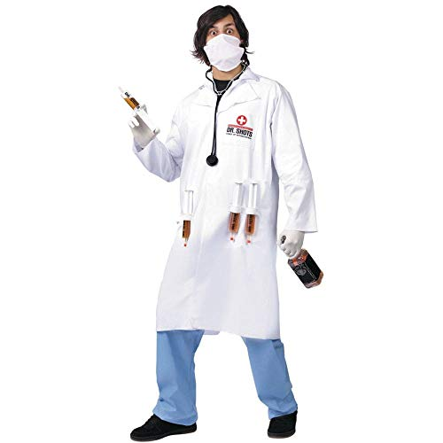 Men's Dr. Shots Adult Costume, White/Blue, One Size -