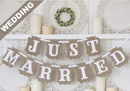 1db8ca8415b6 Image Unavailable. Image not available for. Color  Vintage Just Married  Wedding Bunting Banner Western Decoration Garland Photo Booth Prop ...