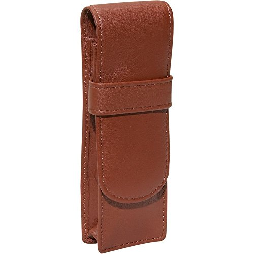 Royce Leather Genuine Leather Double Pen Case Holder (Tan) ()