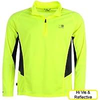 Karrimor Mens Running Top Yellow Hi Viz Reflective Long Sleeve Tshirt Qtr Zip Breathable