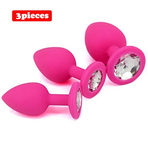 EDYellow 3pcs Silicone Diamond Round Jeweled Toy Game Play (Pink) (Best Butt Plug For Long Term Wear)