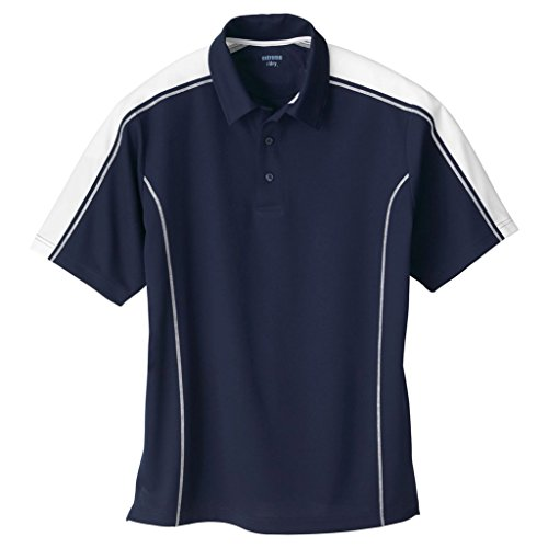 - Ash City Mens Eperformance Extreme Pique Color Block Polo Shirt (Large, Classic Navy/White)