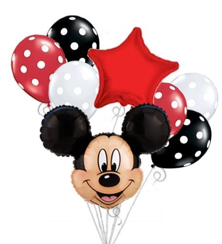 (Mickey Mouse Head Balloon Bouquet Set Birthday Baby Shower Party Decoration by)