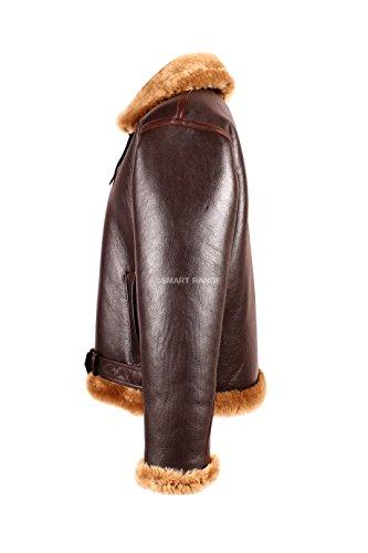 Smart Range Herren Braun Merino Lammfell Real Schaffell B3 World War 2 Fur Fliegen Flieger-Lederjacke.