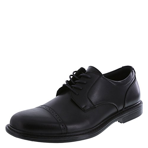 safeTstep Black Men's Slip Resistant Able Leather Cap Toe Oxfords 9 (Oxford Slip Heels)