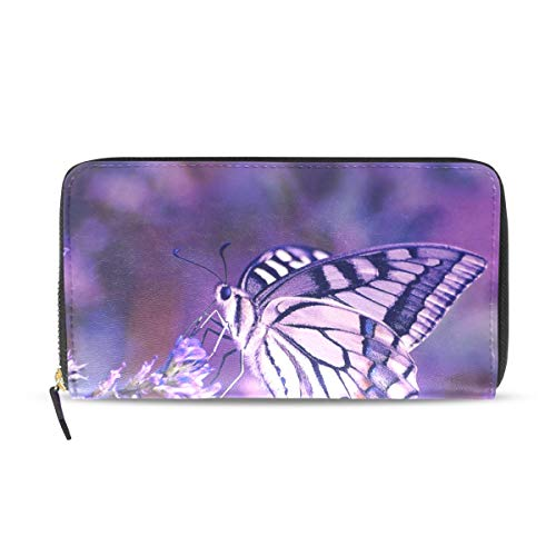 Womens Wallets Purple Butterfly Lavender Leather Passport, used for sale  Delivered anywhere in USA