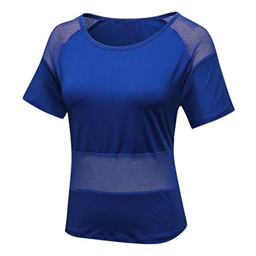 Respctful✿Womens Sport Tops Short Sleeves Mesh Fishnet T-Shirt Yoga Tops Gym Clothes Workout Running Shirts Blue (Making A Denim Skirt Out Of Jeans)