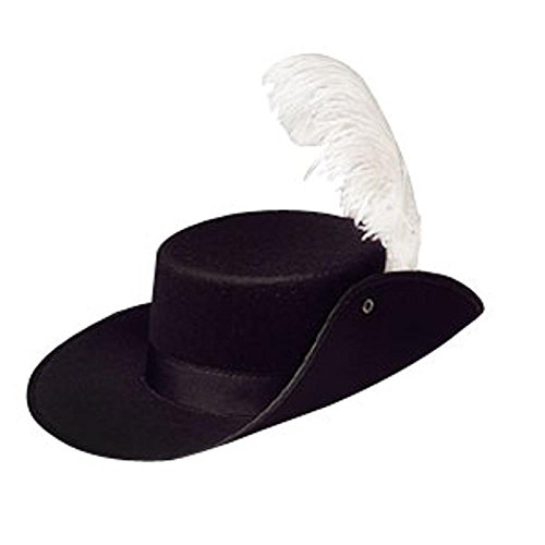Adult Black Musketeer Hat With White Feather