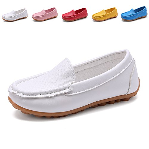 L-RUN Toddler/Little Kid Boys Girls Loafers Infant and Designer Loafer Shoes White 3 M US Little Kid