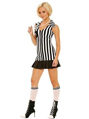 [GTH Women's Referee Football Sports Outfit Fancy Dress Sexy Costume, M (6-10)] (Referee Costume Plus Size)