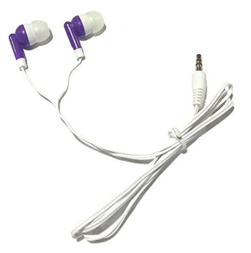 TFD Supplies Wholesale Bulk Earbuds Headphones 100 Pack For Iphone, Android, MP3 Player - Purple