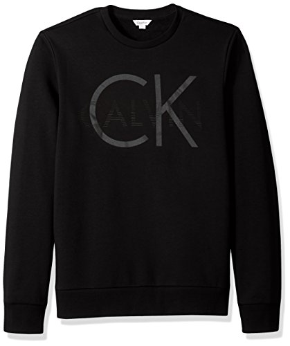 Calvin Klein Men's Long Sleeve Printed Logo Crew Neck Pullover Sweatshirt, Black, Large
