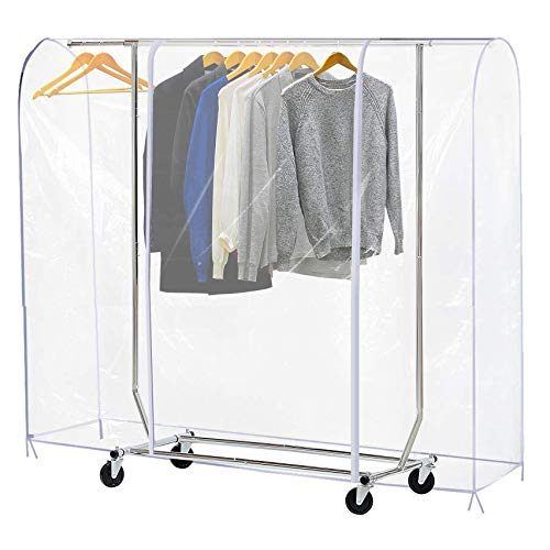 Ruibo Clear Garment Rack Cover Dustproof Clothes Rack Cover with 2 Durable Zipper/Clothing Waterproof Protector (L:71x20x60 inch)