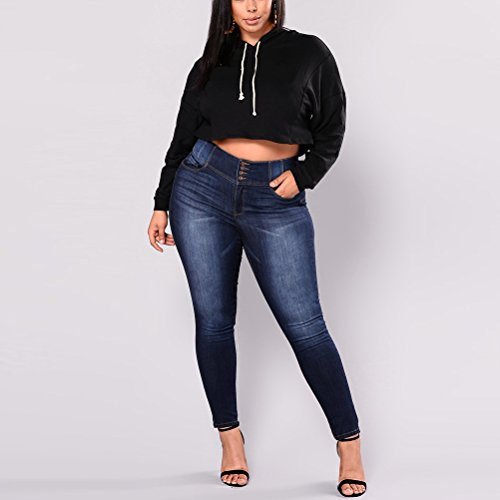 breasted for Plus Fit Size Zhhlaixing 16 Single 14 12 Slim 20 18 Style Jeans Vintage Women Blue Trousers Blue 22 Boyfriend wxqg8Sv