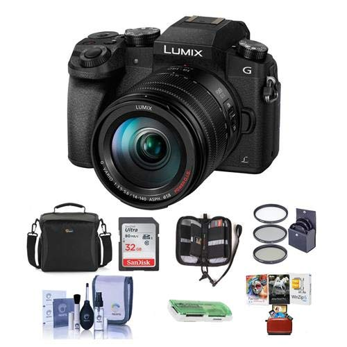 (Panasonic Lumix DMC-G7 Mirrorless Digital Camera Vario 14-140mm f/3.5-5.6 Lens, Black - Bundle Camera Case, 32GB SDHC Card, 58mm Filter Kit, Cleaning Kit, Card Reader, Mac Software Package)