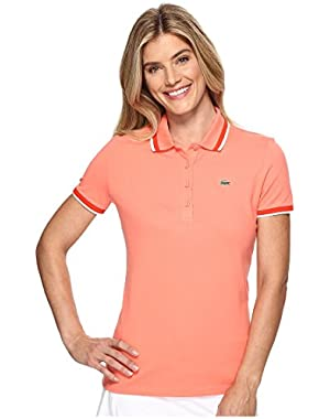 Lacoste Women's Short Sleeve Contrast Tipped Collar Polo