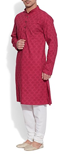 ShalinIndia Cotton Long Nehru Collar Indian Mens Kurta Shirt 3 pockets Magenta 46 by ShalinIndia (Image #4)