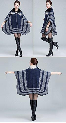Fourrure Pull Manteau Femmes D'hiver Chaud Tricot Renard Mode Faux Blanc Dames Châle Bleu Femme En De fgpqwW4