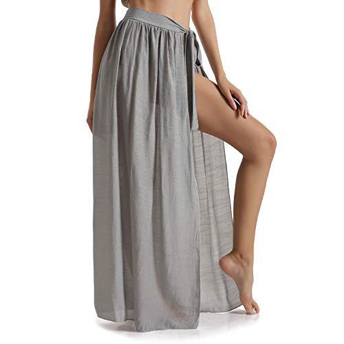 Eicolorte Sarong Skirt for Beach Cover Up Women Swimwear Adjustable Wrap Maxi Long Skirt (Gray, 4-12)