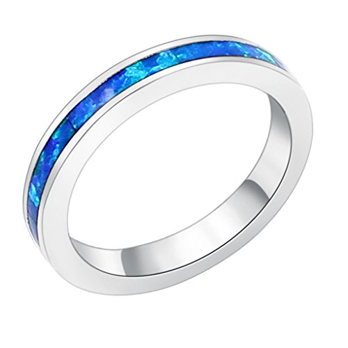 (Hermosa CHOOSE YOUR COLOR Birthstone Ring Silver Fire Rainbow Opal Size 7 (Blue))