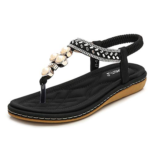 Tantisy ♣↭♣ Women's Bohemian Casual Sandals/Pearl Crystal Roman Sandals/Comfy Flat Shoes/Elastic Band/Heel High:3cm/1.2