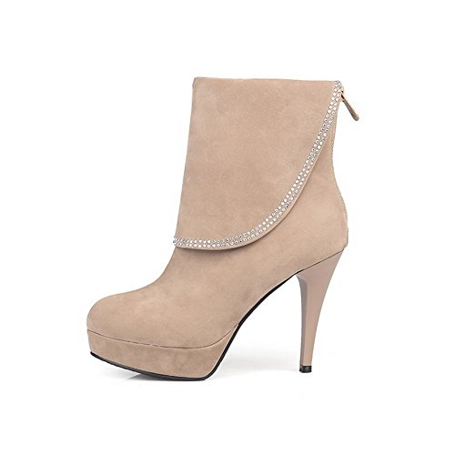 AmoonyFashion Heels Closed Round Boots Low Beige Frosted Women's High Toe Zipper top r6Yrf8q
