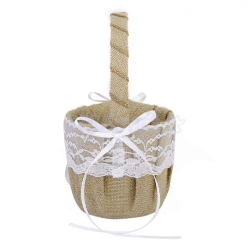FidgetGear Vintage Wedding Ceremony Ribbon Bowknot Burlap Jute Lace Flower Girl Basket from FidgetGear