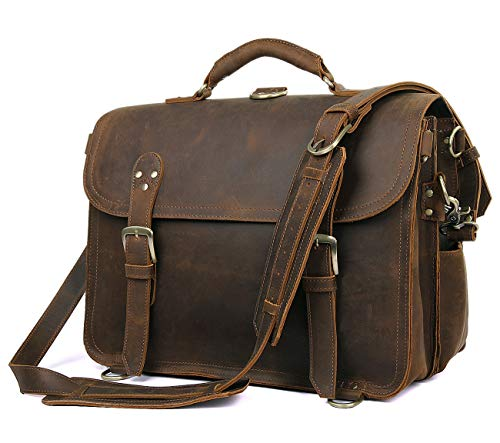 "Polare Leather Messenger Bag Casual Designer Travel Briefcase Fits 16.5"" Laptop"