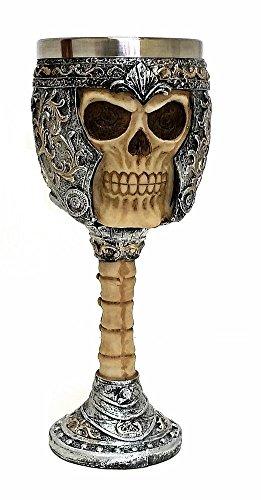 Bellaa 21015 Skull Wine Goblet Chalice, Ossuary Skeleton Drinking Cup