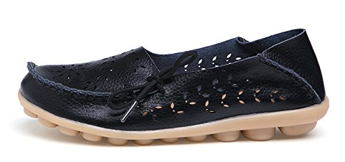 VenusCelia Damen Atmungsaktiver Walking Flat Loafer Schwarz