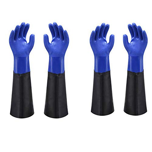Waterproof PVC Coated Glove with Cotton Liner,Heavy Duty Latex Gloves, Resist Strong Acid, Alkali and Oil,Fishing Operation rubber Gloves -17, 2 Pair