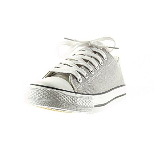 Angkorly - Scarpe da Moda Sneaker donna Tacco tacco piatto 2.5 CM - Grigio