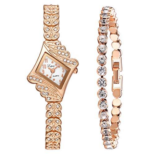 Clement Attlee Women's Watch Fashion Crystal Quartz Rhombus Bangle Watch with Full Diamond Bracelet 2pcs/Set