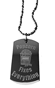 Popcorn Fixes Everything - Luggage Metal Chain Necklace Military Dog Tag