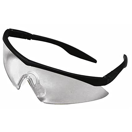 Amazon.com : Straight Temple Safety Glasses, Black Frame, Clear Lens ...