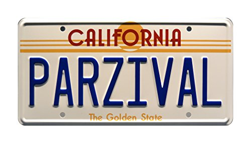 Celebrity Machines Ready Player One   Wade Watts' Delorean   PARZIVAL   Metal Stamped Vanity Prop License Plate