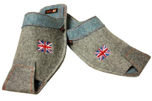 Weri Spezials Mens Wool Great Britain Flag Slippers Grey-Blue Grey-Blue wCQf8JgNJ