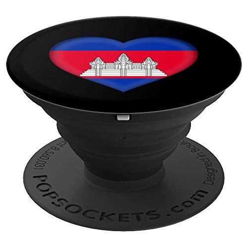 (I Love Cambodia Design | Cambodian Flag Heart Outfit - PopSockets Grip and Stand for Phones and Tablets)