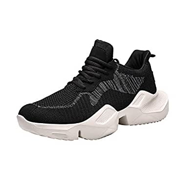AUCDK Men Fashion Sneakers Mesh Upper Breathable Shock Absorbing Platform Trainers with Non Slip Sole for Running 7.5US Black