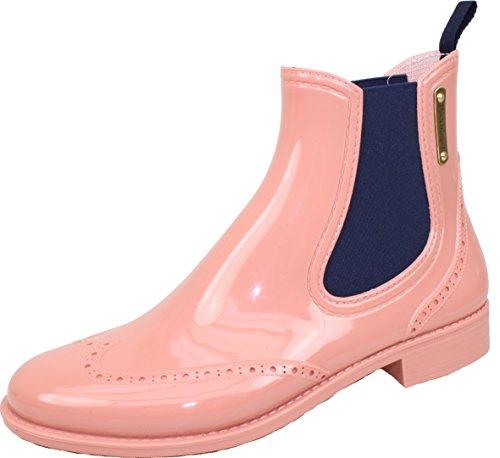 BOCKSTIEGEL® CHELSEA Mujer - Medio Botas de goma con estilo | Chelsea Boots | A prueba de agua | Elegante | Exclusivo Salmon / DK - Blue