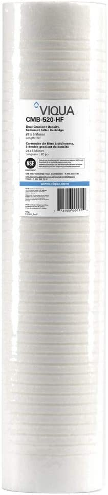 """VIQUA CMB-120-HF Polypropylene 4.5"""" x 20"""" Sediment Filter 1-Micron for Combo UV Water Filter Systems VH410-F20, IHS22-D4, and IHS22-E4 UV"""
